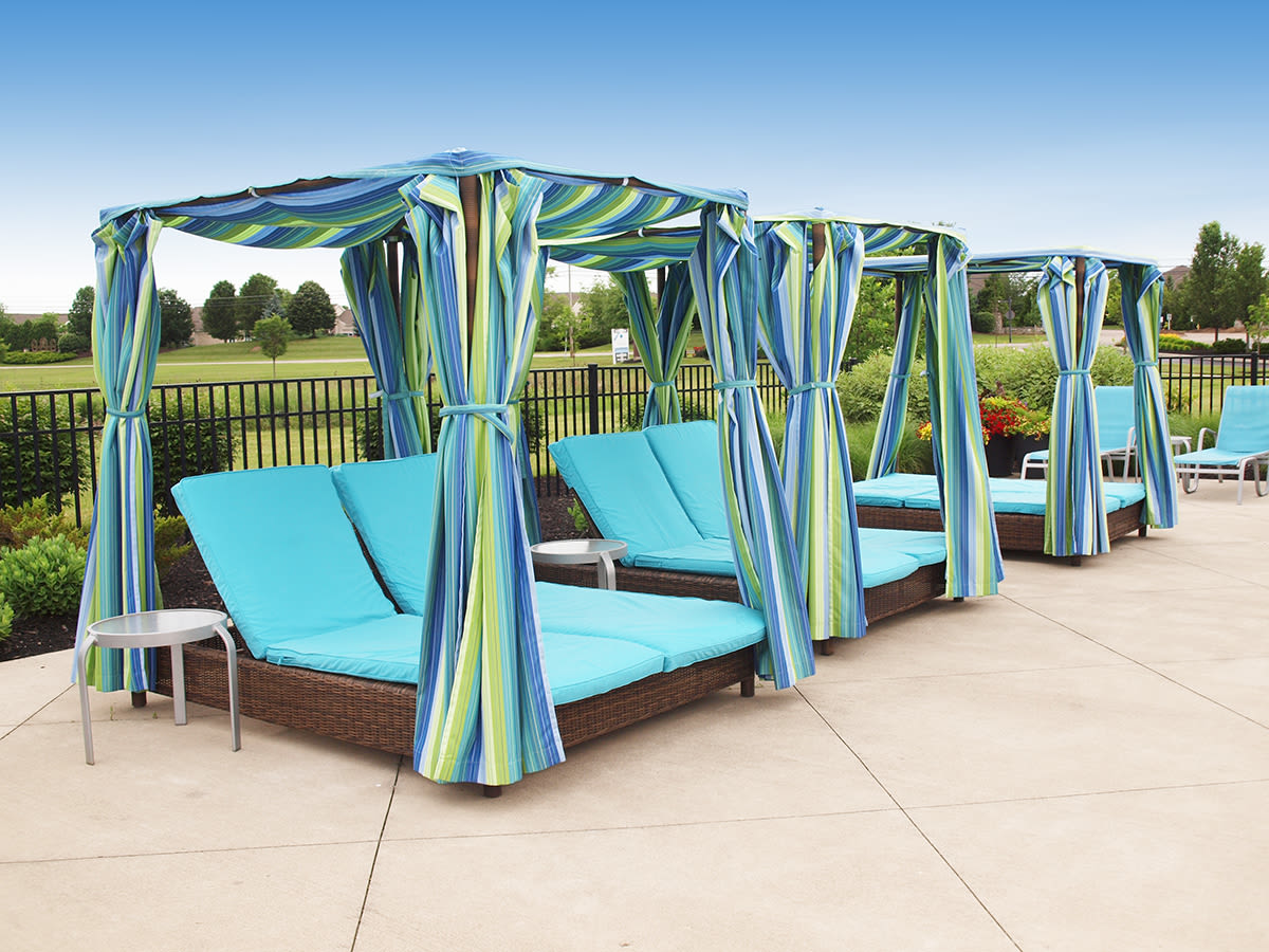 Cabanas near the pool at Palmera Apartments in Mason, Ohio