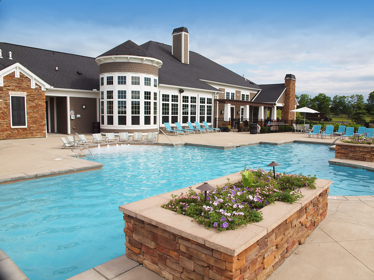 Beautiful outdoor pool at Palmera Apartments in Mason, Ohio
