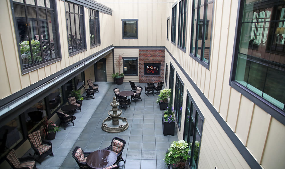 Third Floor Courtyard Inside Our Senior Living Community In Edmonds
