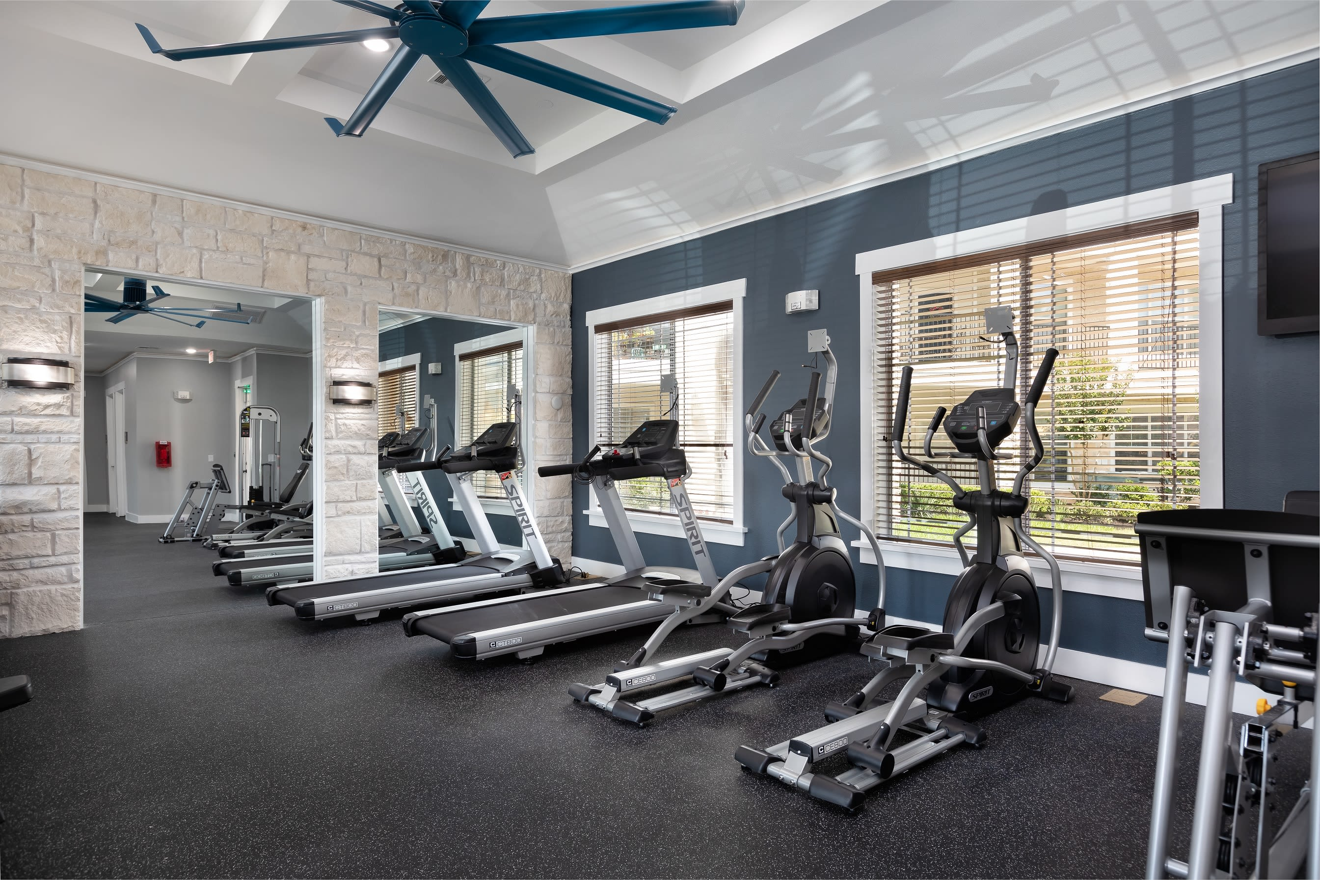 Well equipped fitness center at The Retreat at Cinco Ranch in Katy, Texas