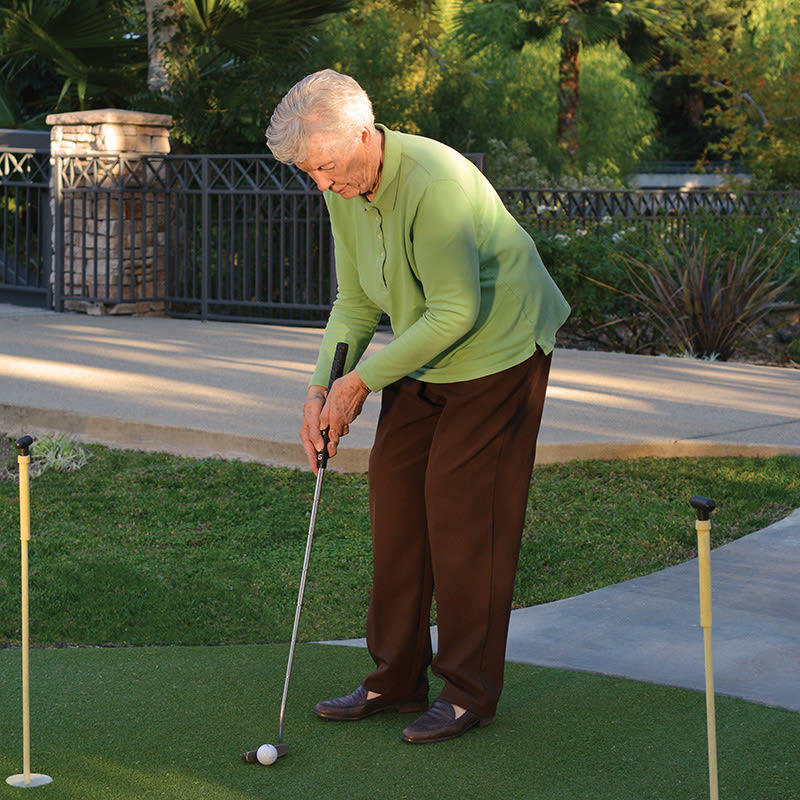 Golf putting at Regency Grand at West Covina in West Covina, CA