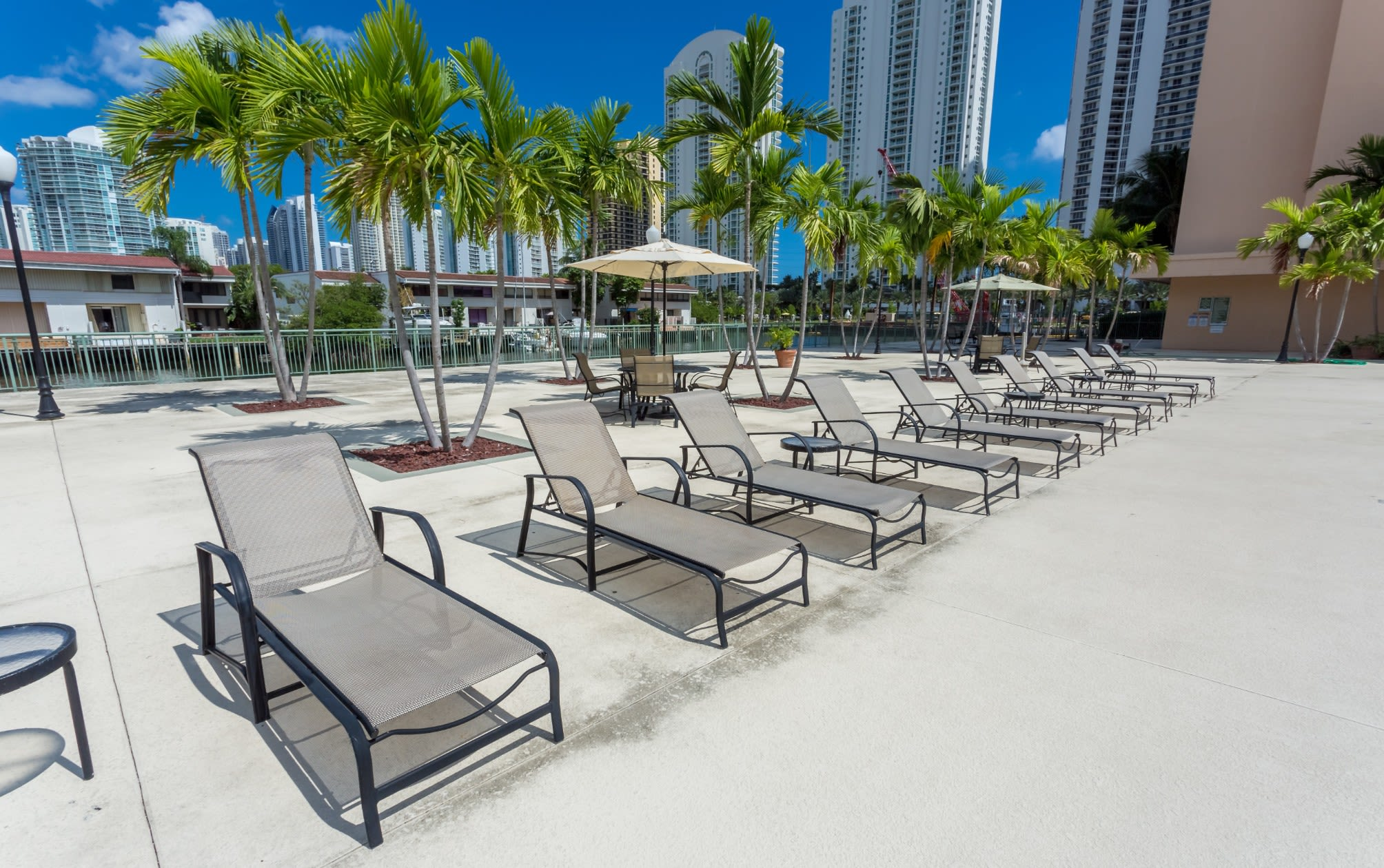 Pool deck at our Sunny Isles Beach, FL apartment homes