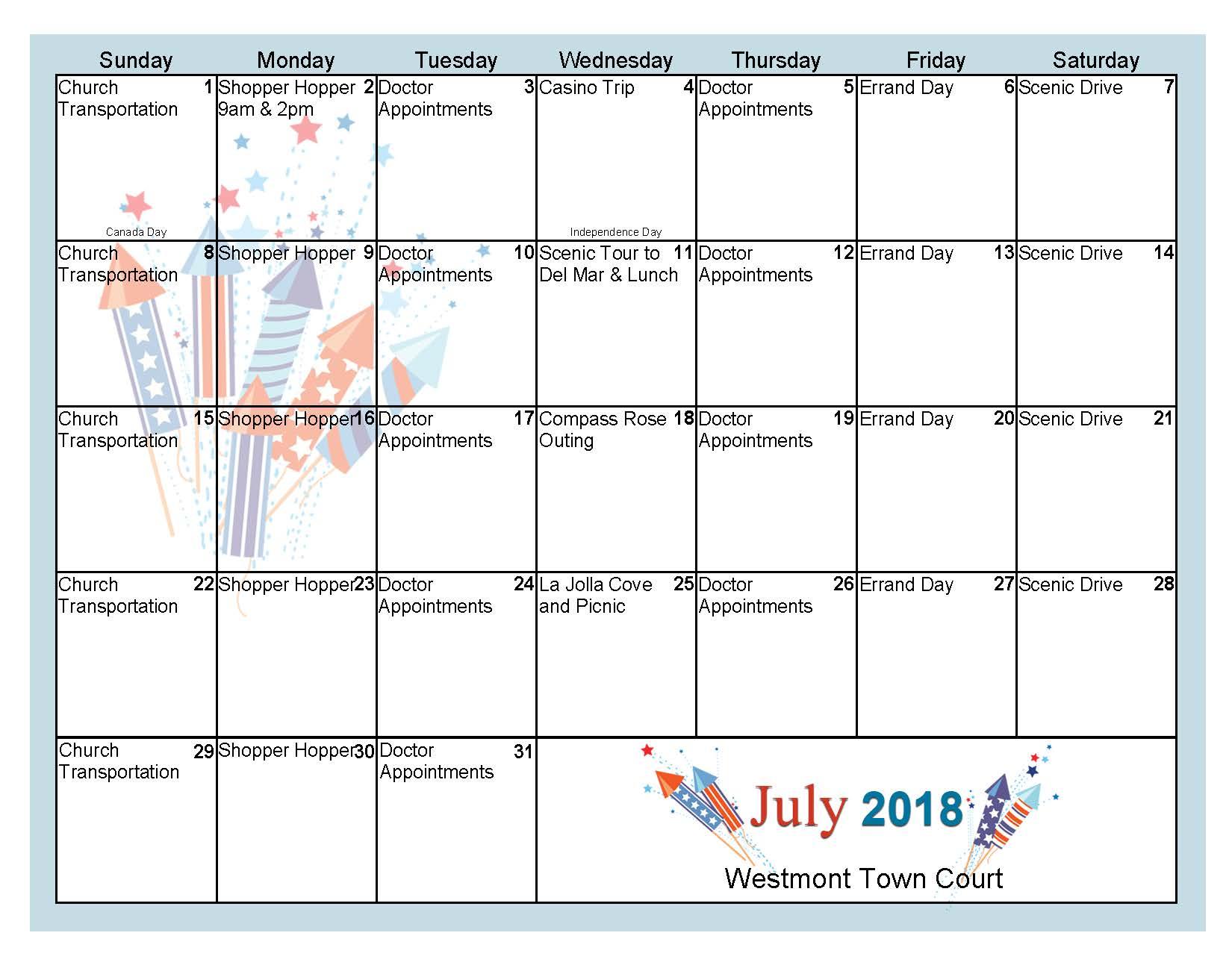 July transportation calendar