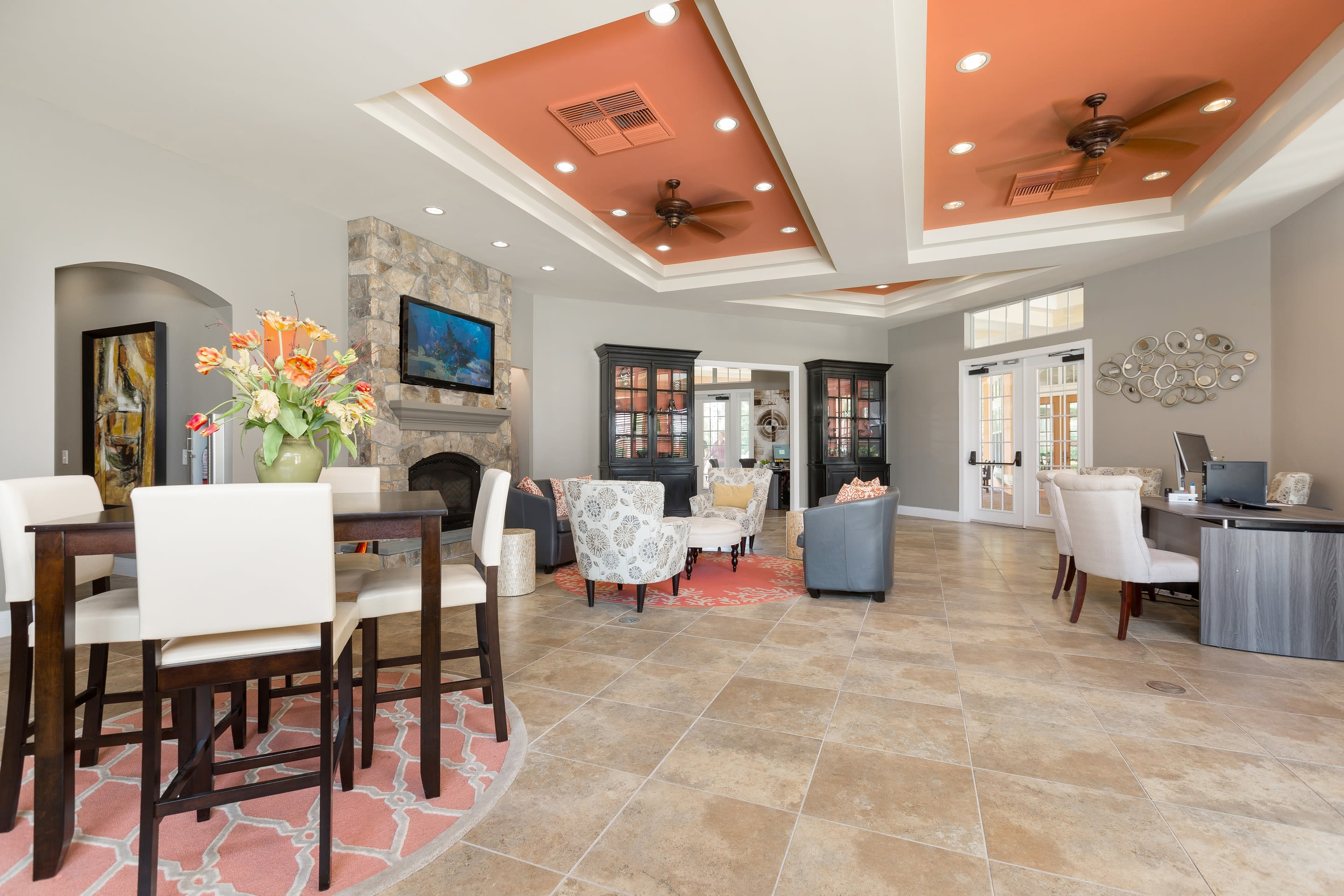 Common area with fireplace at The Aspect in Kissimmee, Florida