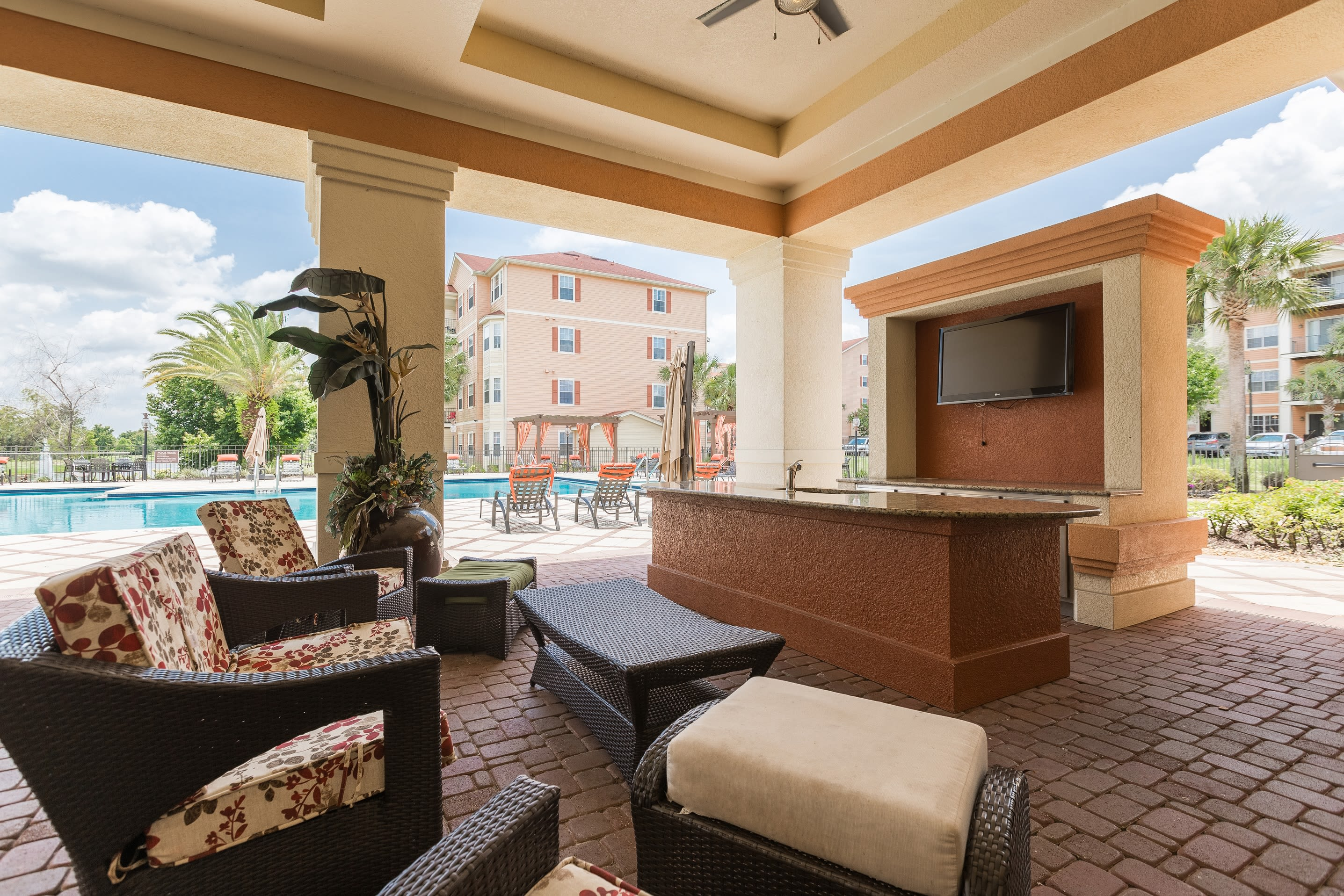 Common area next to the swimming pool at The Aspect in Kissimmee, Florida