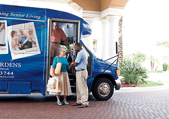 Scheduled transportation for senior living residents at Discovery Commons At Wildewood in California, Maryland