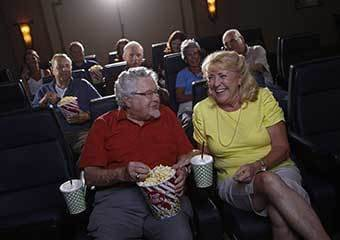 Senior living residents at the movies in California, Maryland