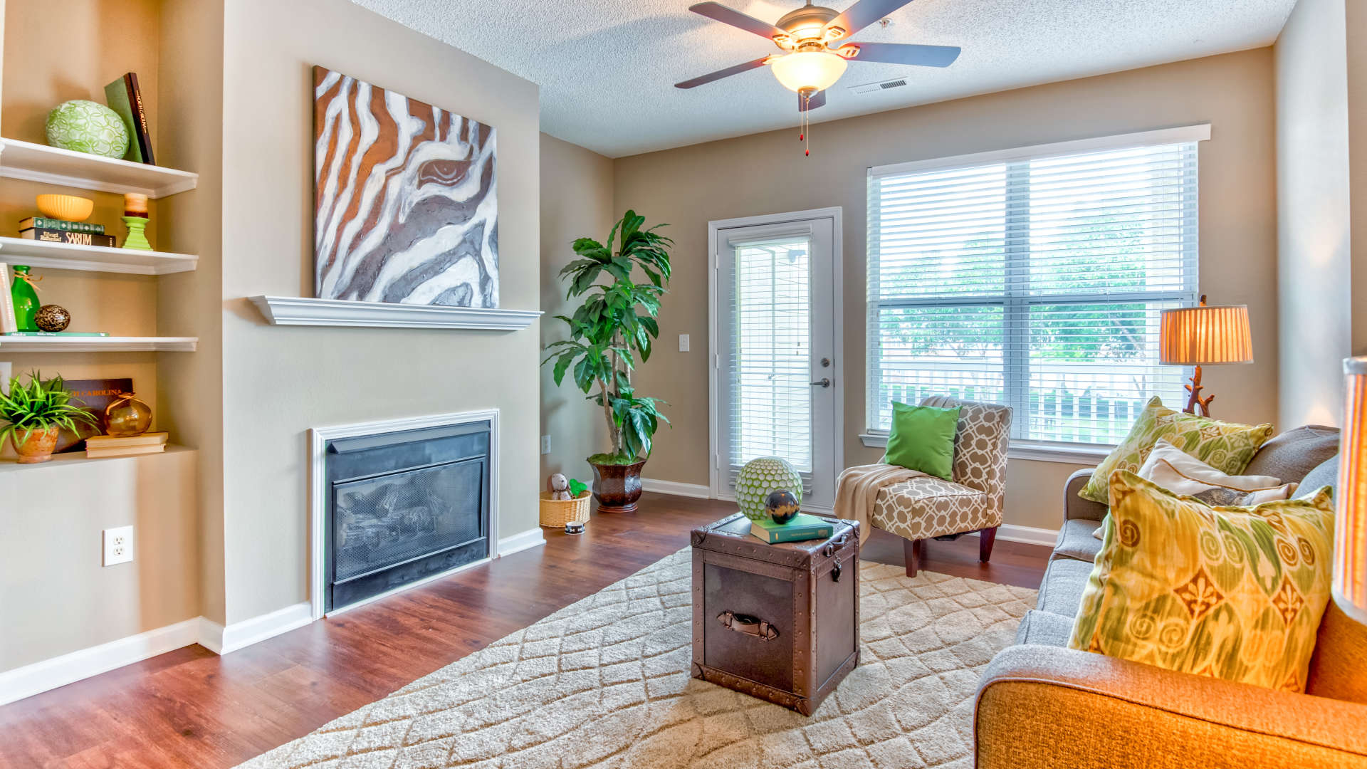 Well decorated living room at 200 East in Durham, North Carolina
