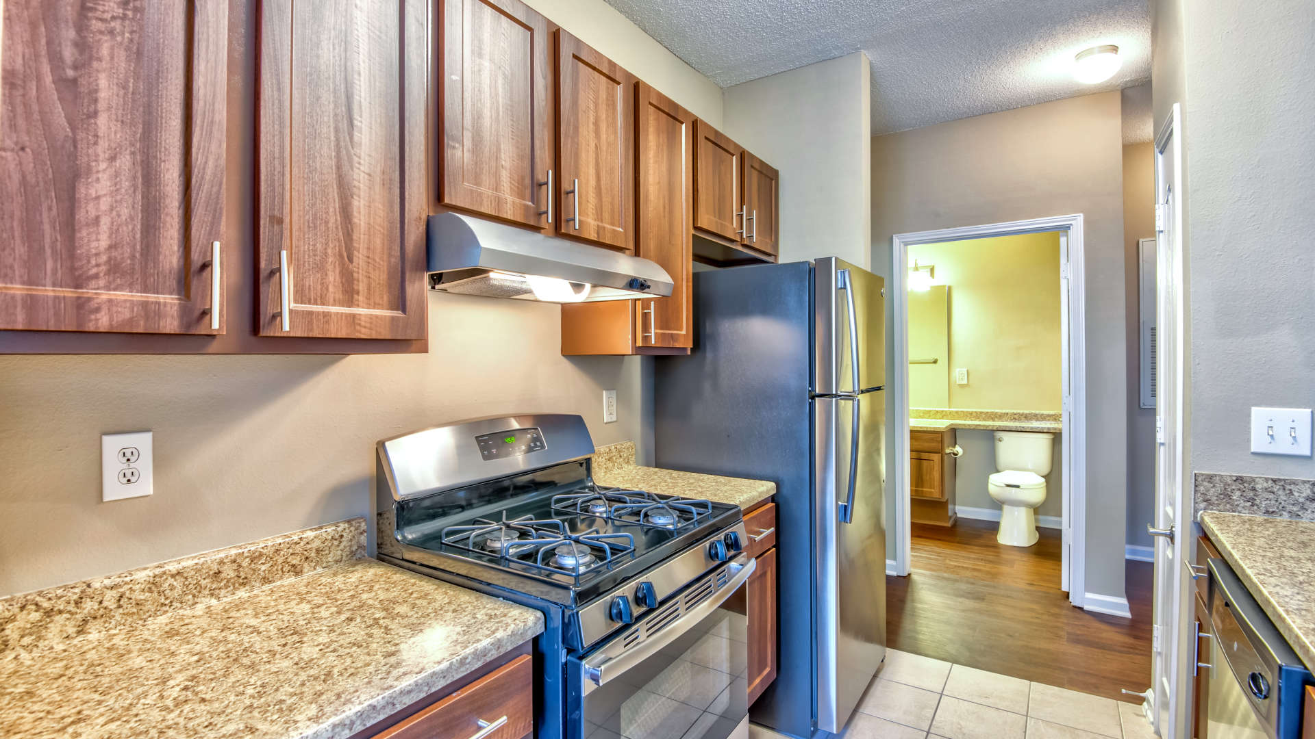 Fully equipped kitchen at 200 East in Durham, North Carolina