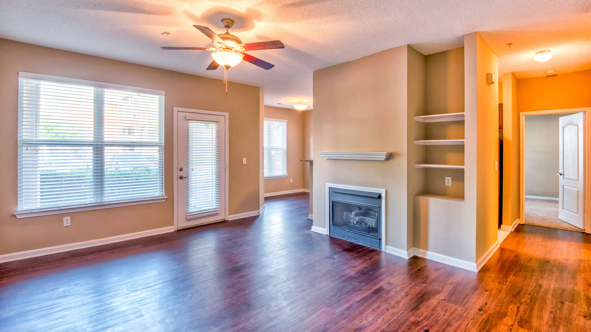 Living room with hardwood floors at 200 East in Durham, North Carolina