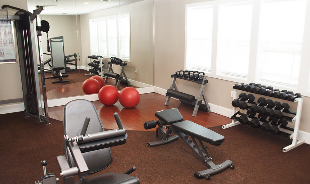 Weights in the fitness center at Island Club Apartments