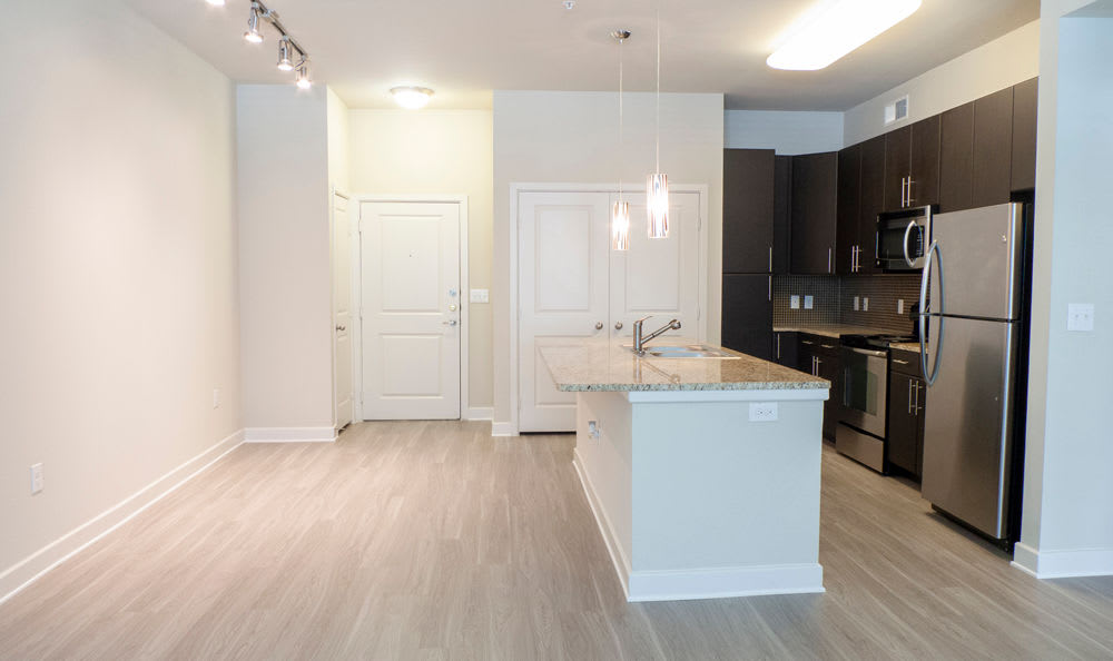 Hardwood floors and modern appliances in kitchen at Addison Keller Springs in Addison