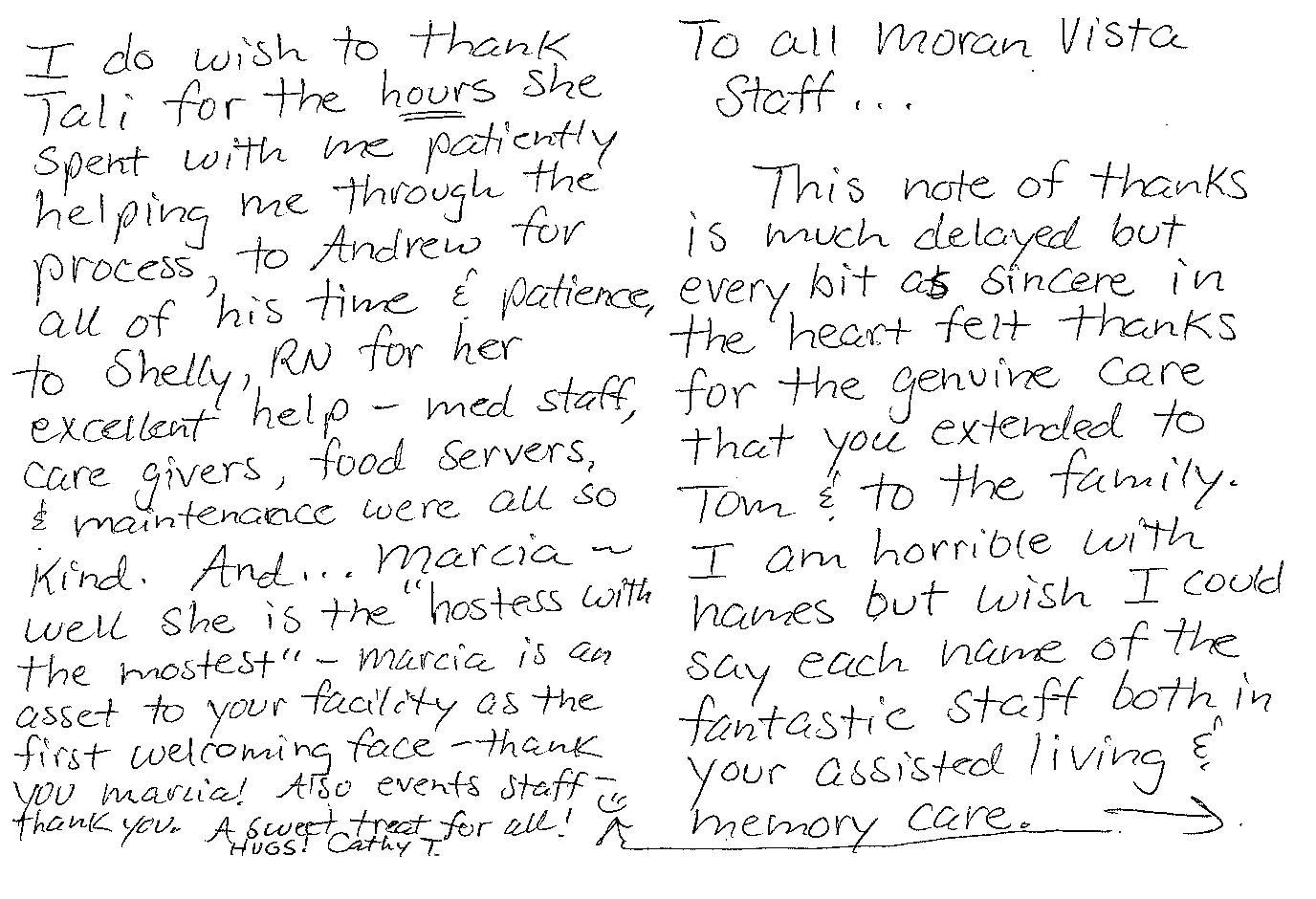 thank you note to Moran Vista