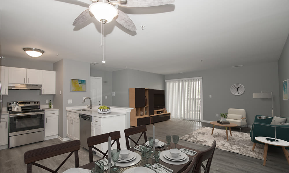 Spacious Living Area at The Lakes at 8201 in Merrillville, IN