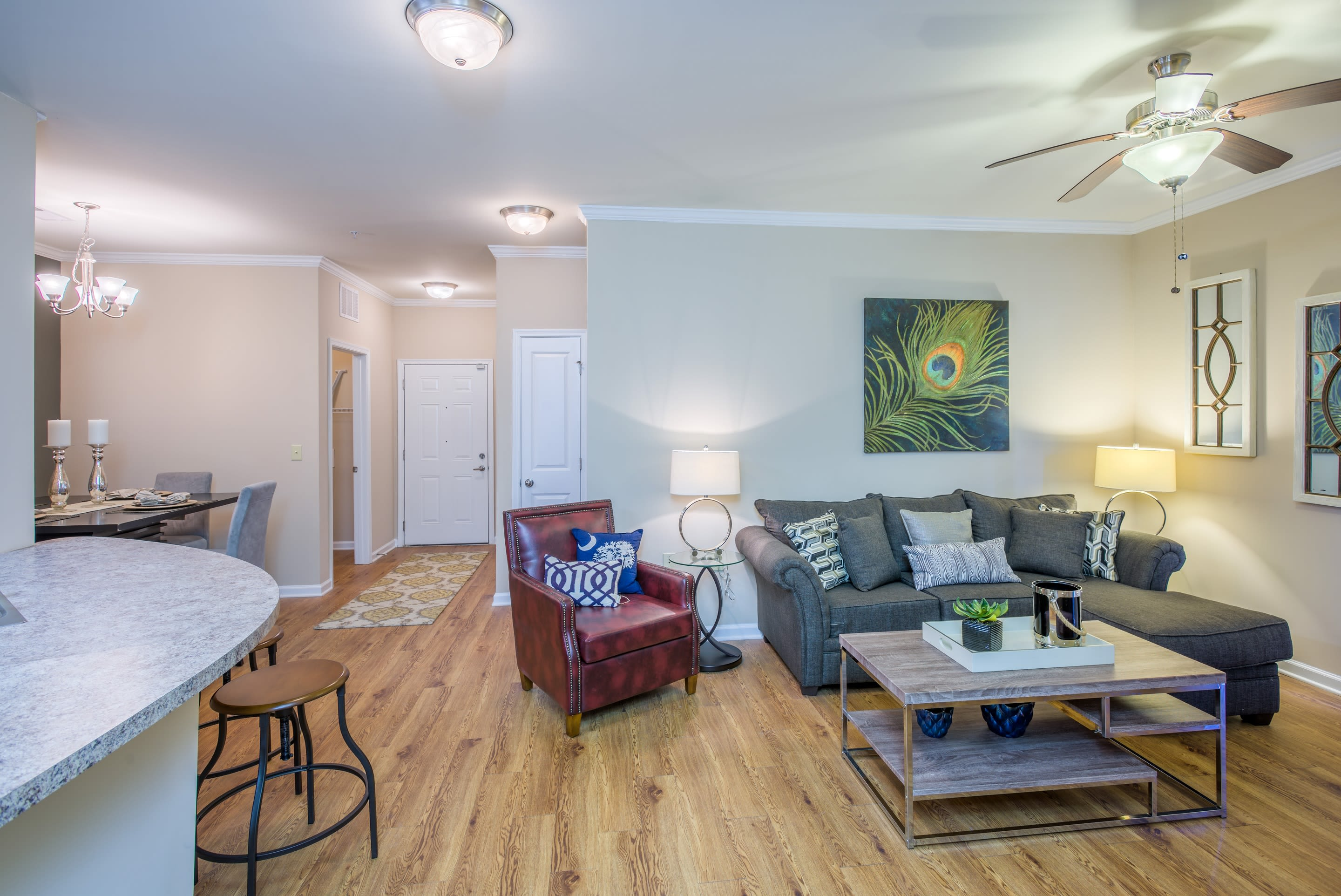 Arbor Village offers a beautiful living room in Summerville, South Carolina