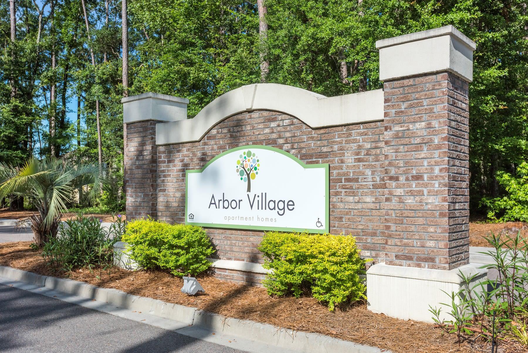 Entrance monument at Arbor Village in Summerville, South Carolina