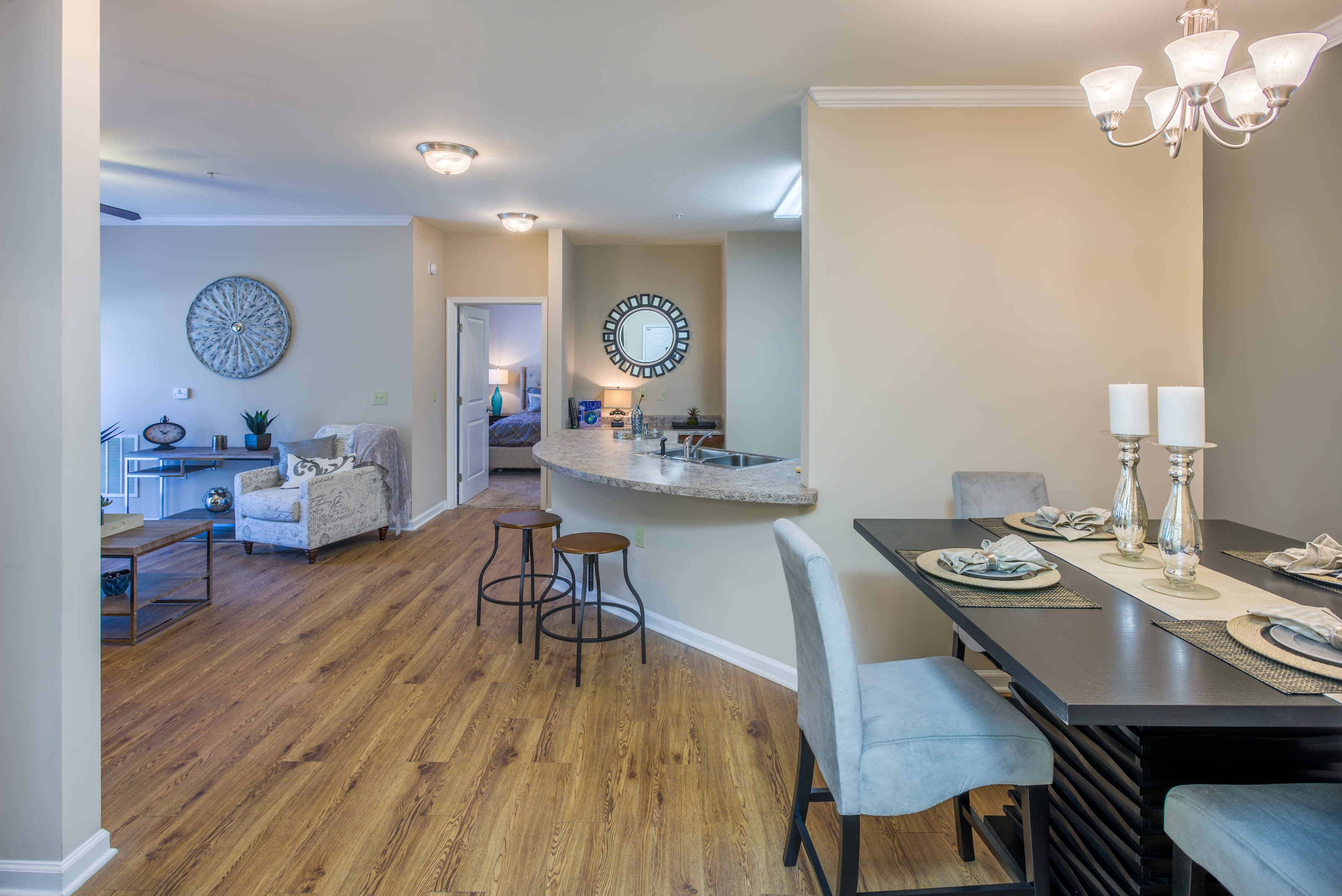 Apartment interior with hardwood flooring at Arbor Village in Summerville, South Carolina