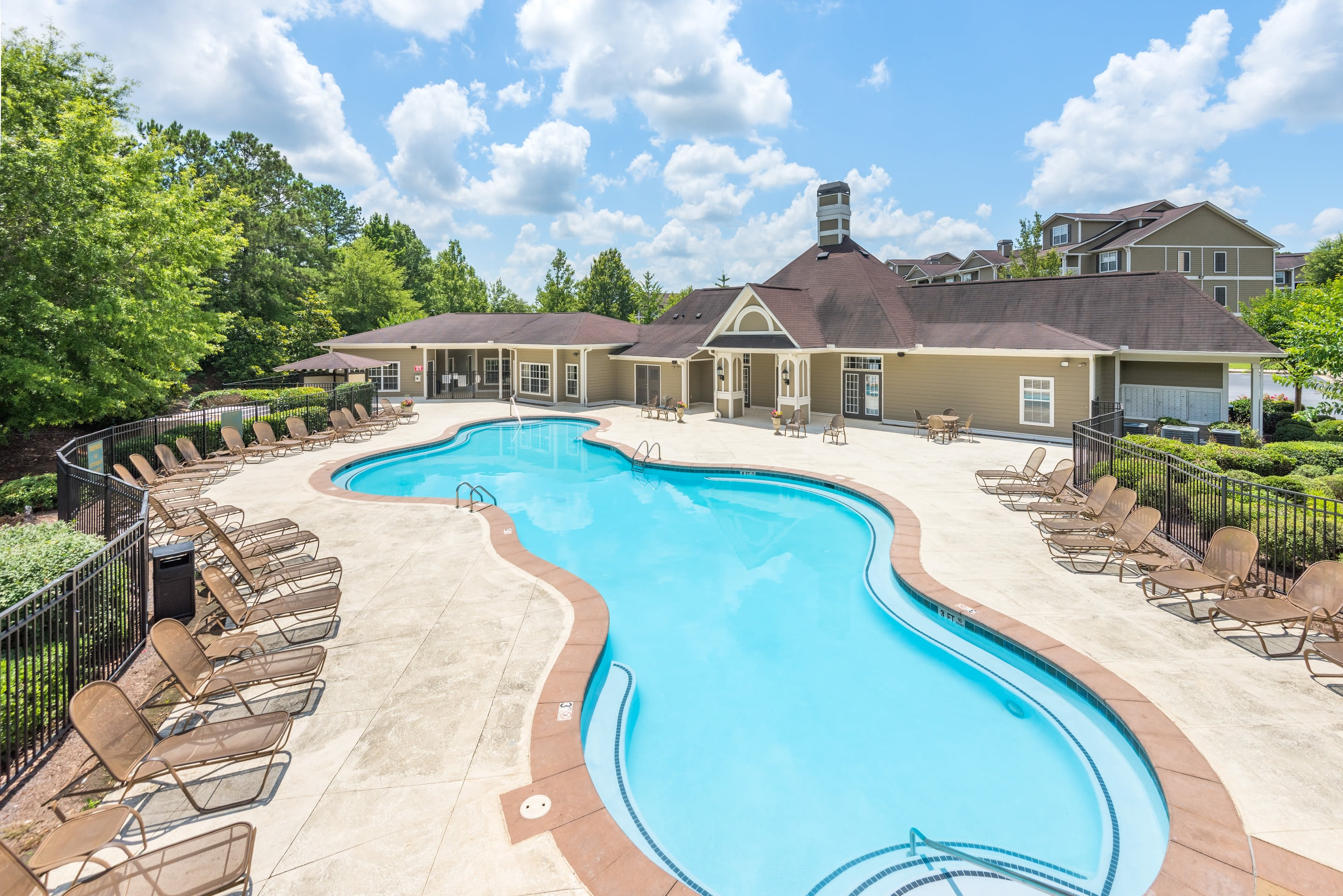 Beautiful swimming pool at One Rocky Ridge Apartment Homes in Douglasville, Georgia