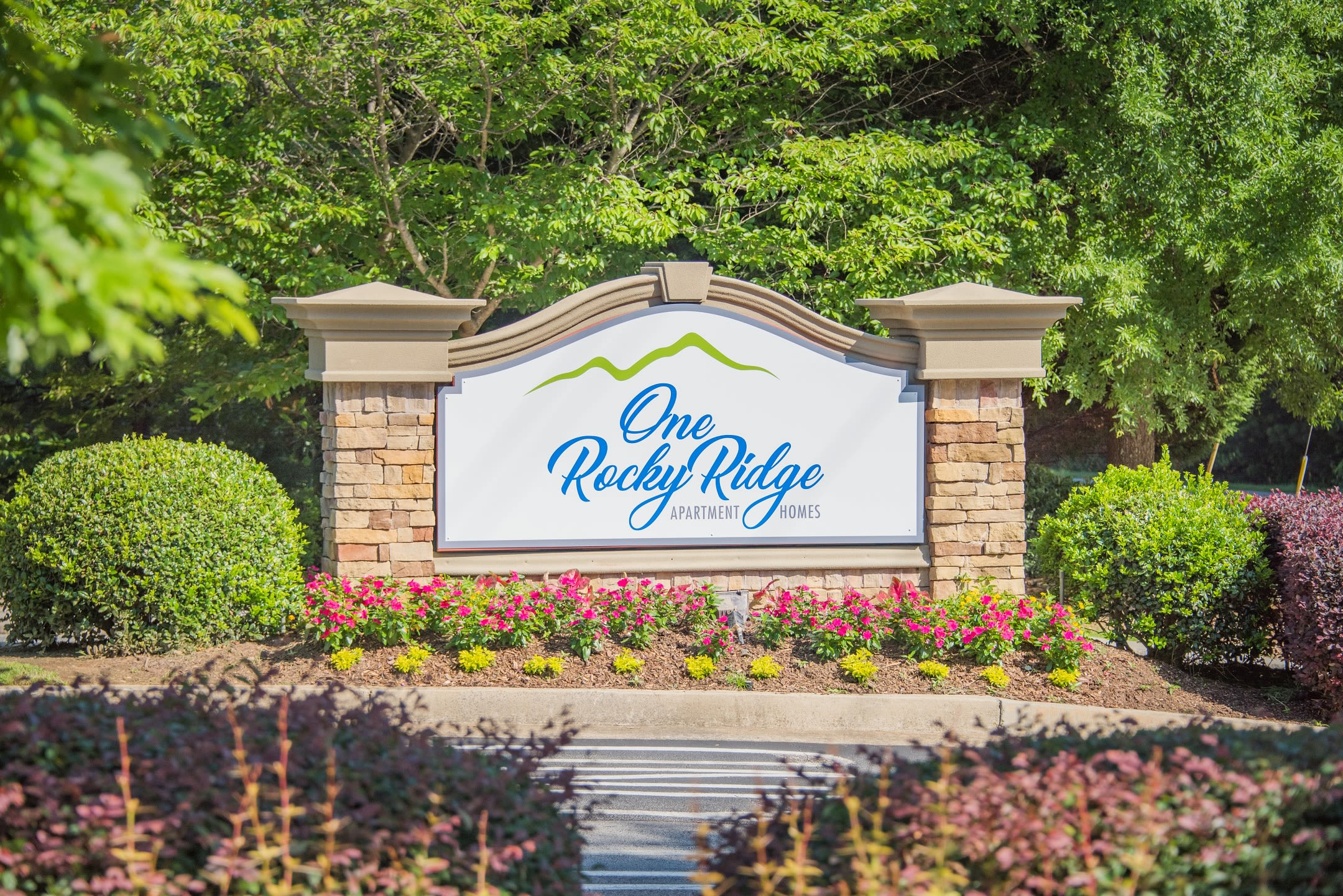 Main sign at One Rocky Ridge Apartment Homes in Douglasville, Georgia
