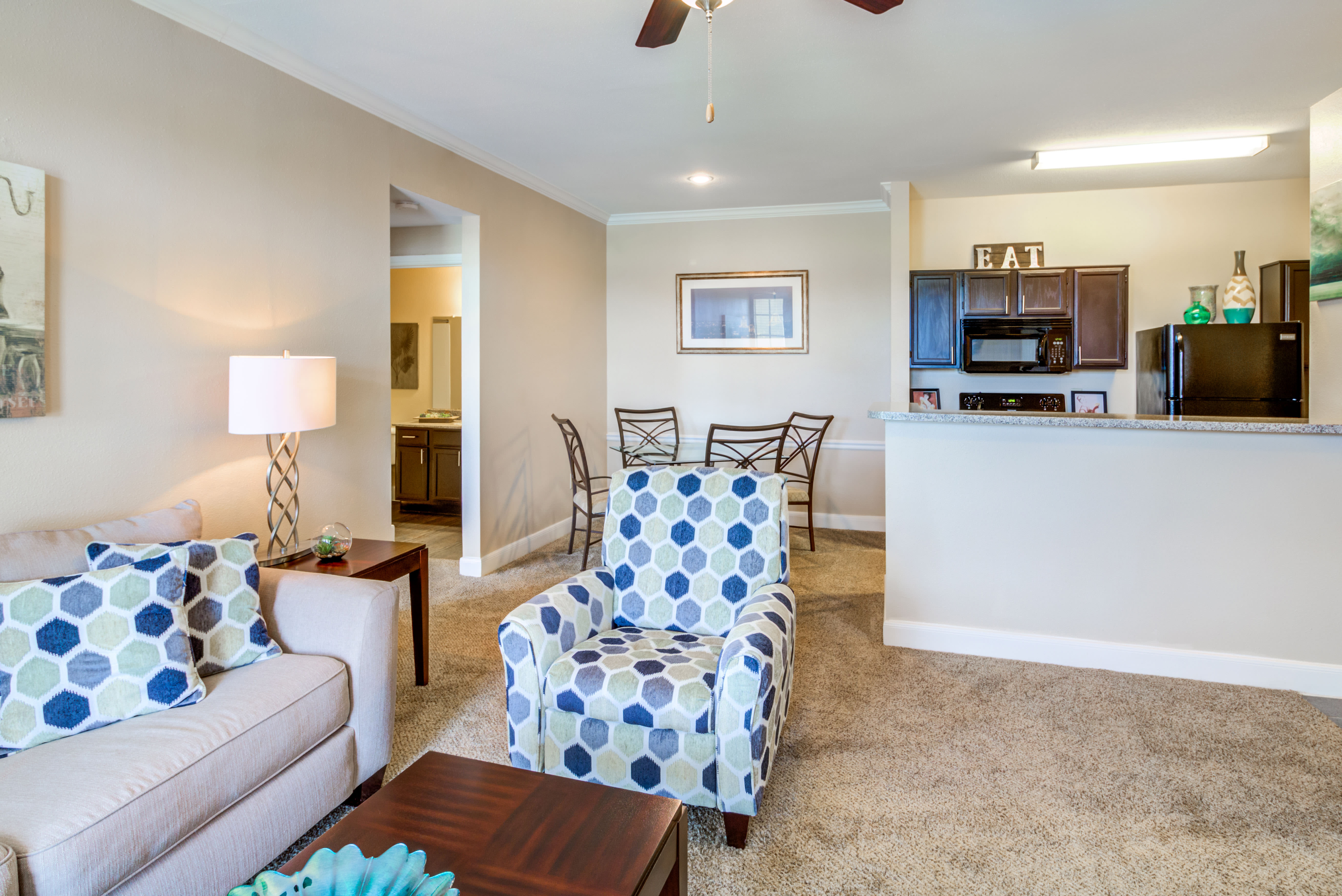 Living Room At Signature Point Apartments In League City TX
