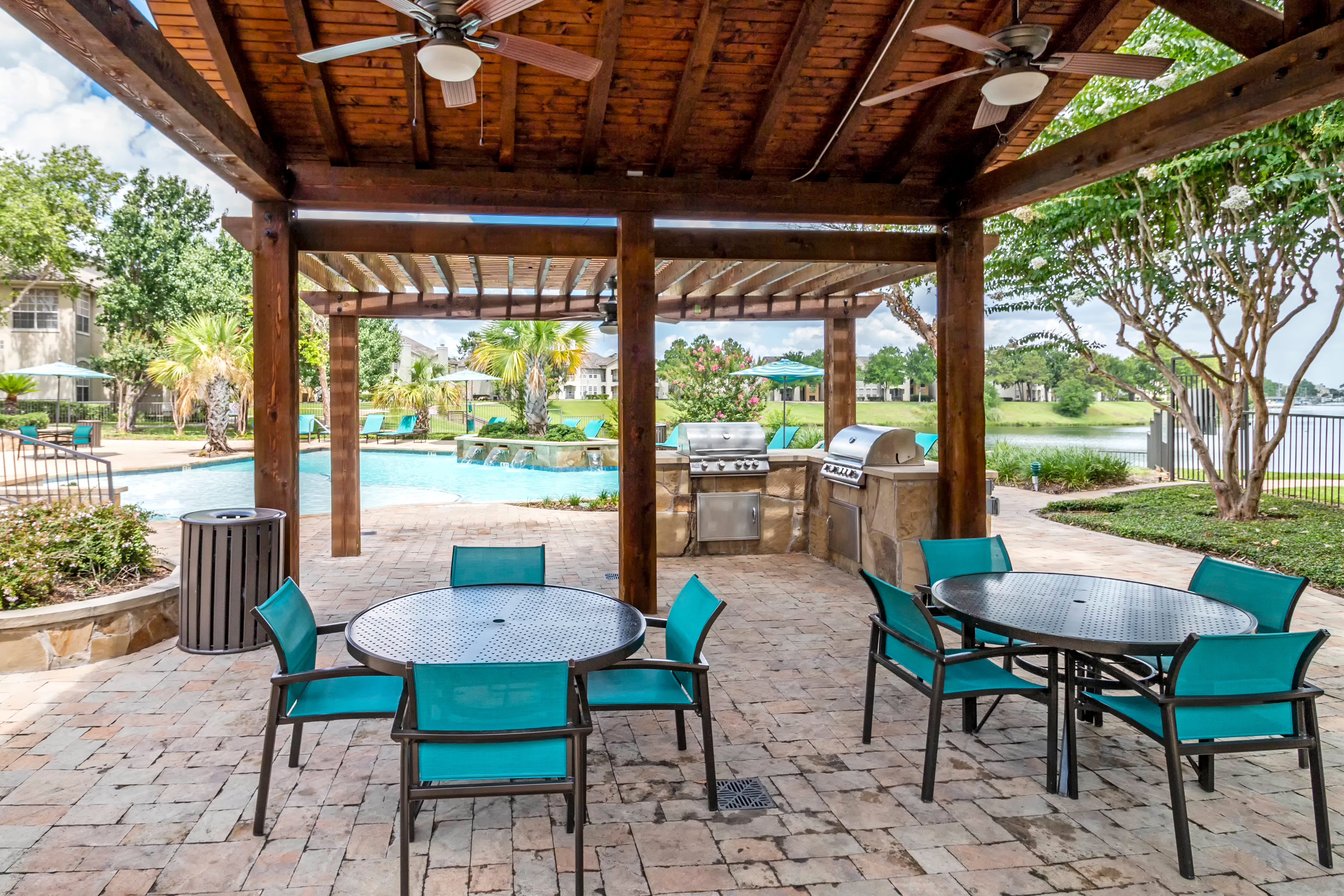 Covered Patio At Signature Point Apartments In League City TX