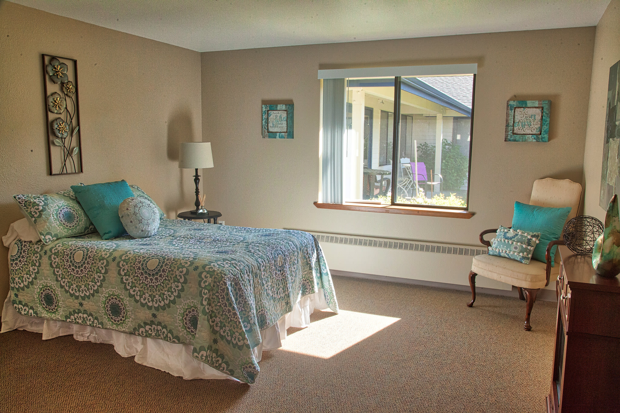 Logan Creek Retirement Community private apartment bedroom