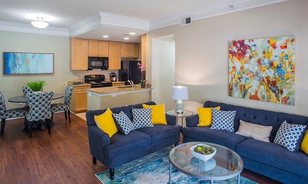 Living room at Atkins Circle Apartments in Charlotte, NC