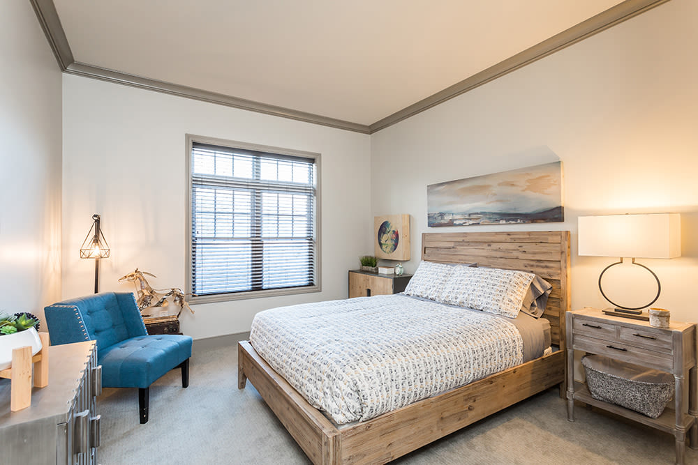 Waters Edge Apartments in Webster, New York showcase a luxury bedroom