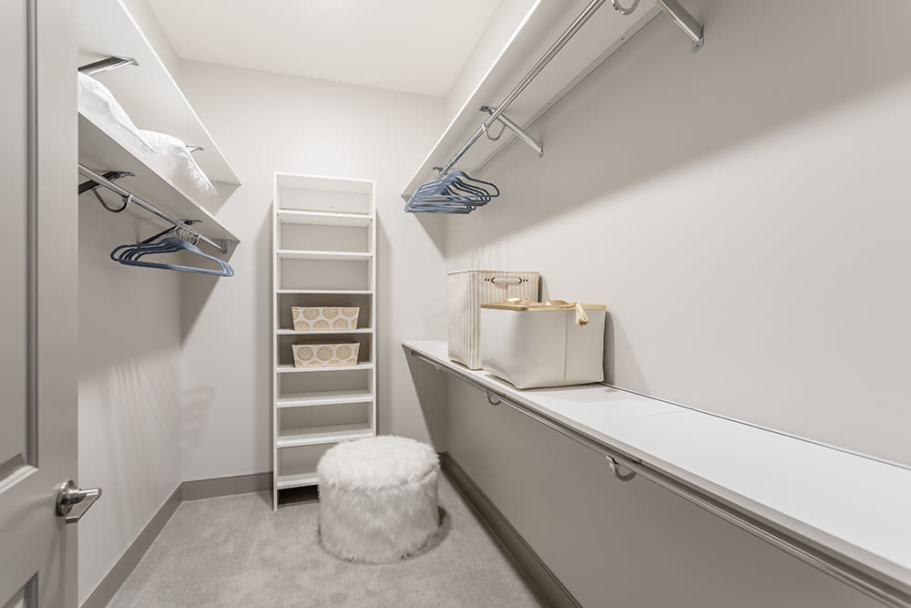 Spacious walk-in closets at Waters Edge Apartments in Webster, New York