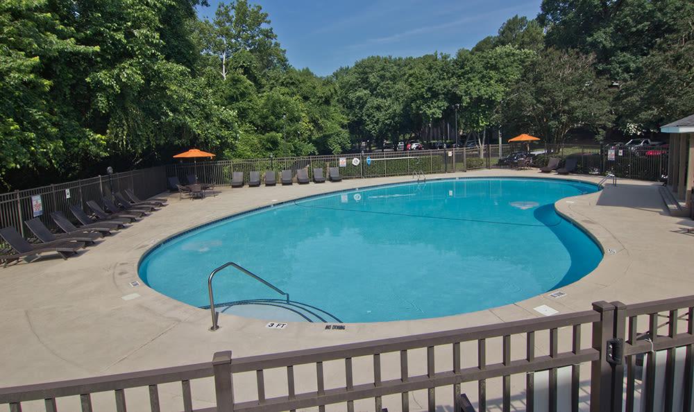 Beautiful swimming pool at apartments in Raleigh, North Carolina