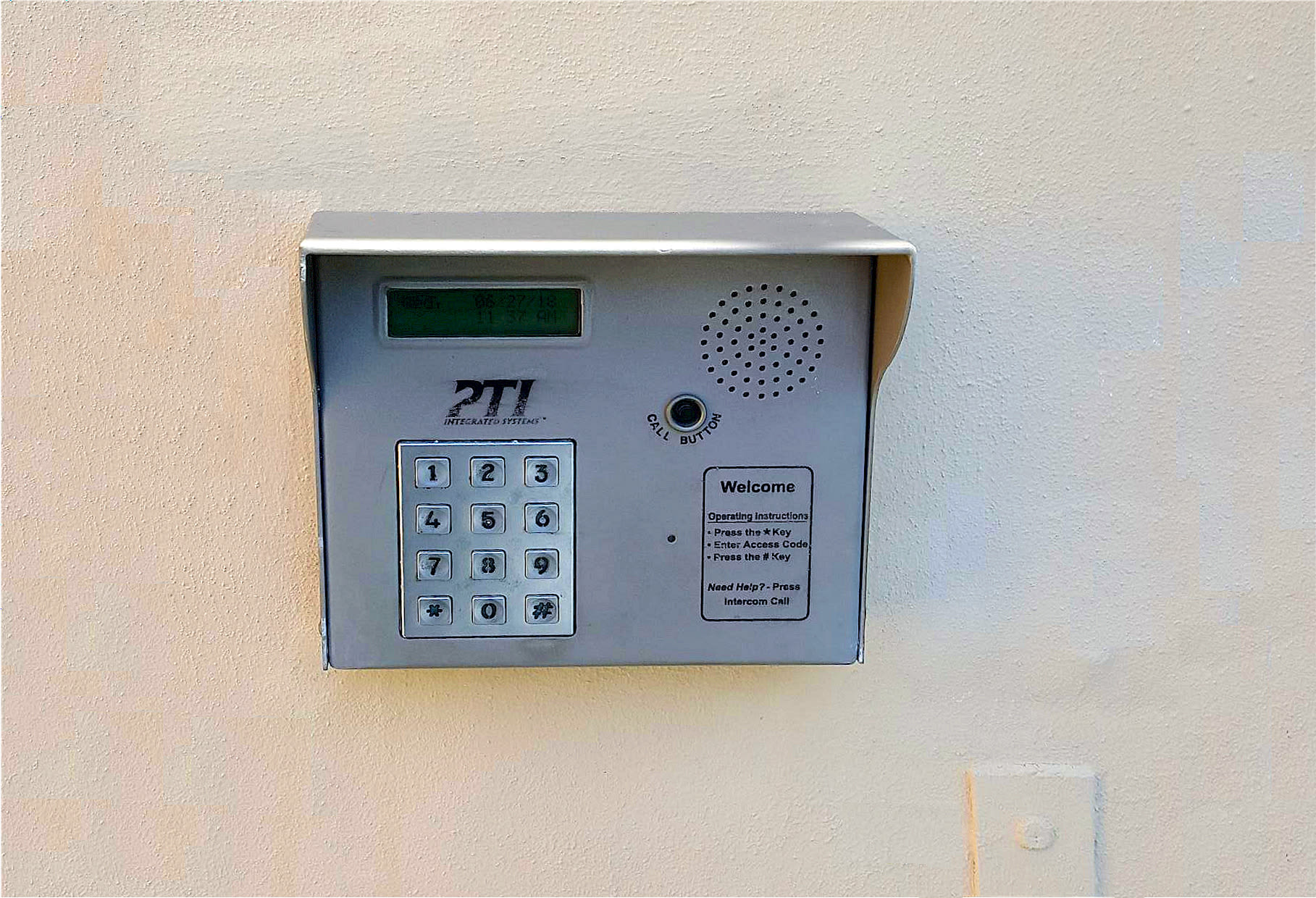 Security key pad at Prime Storage in North Miami, Florida