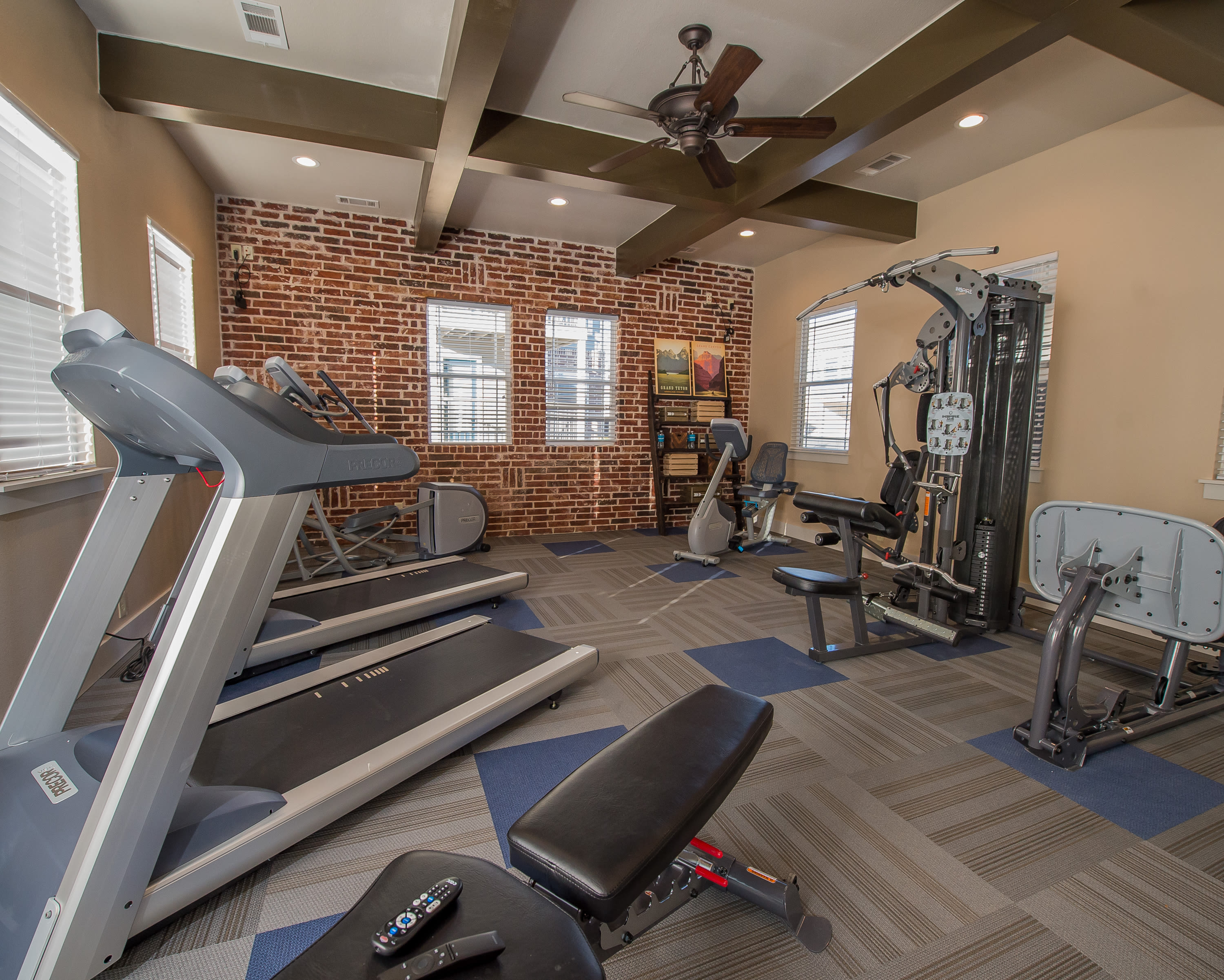 Private fitness center at Watercress Apartments in Maize, Kansas
