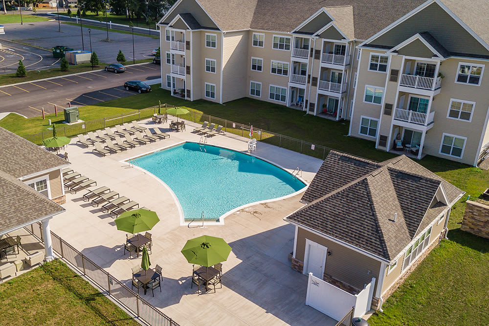 Beautiful aerial view at The Landings at Meadowood in Baldwinsville, New York