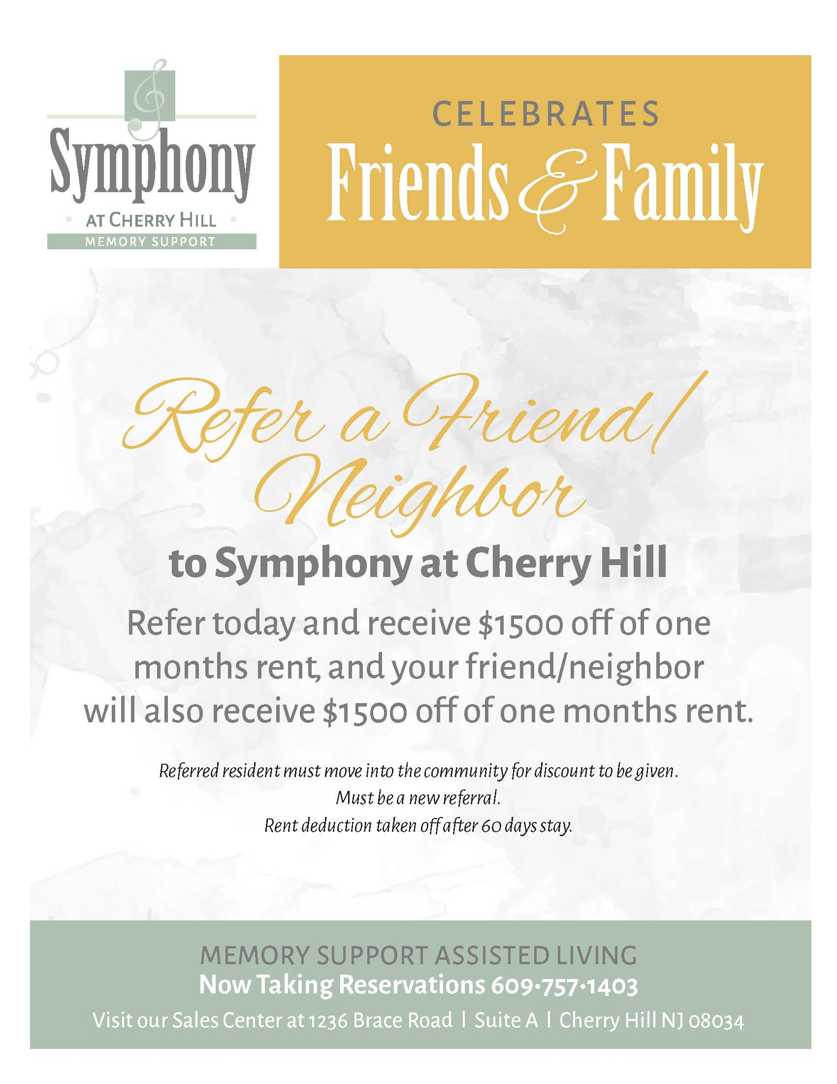 Refer a friend discount flyer for Symphony at Cherry Hill in Cherry Hill, New Jersey.