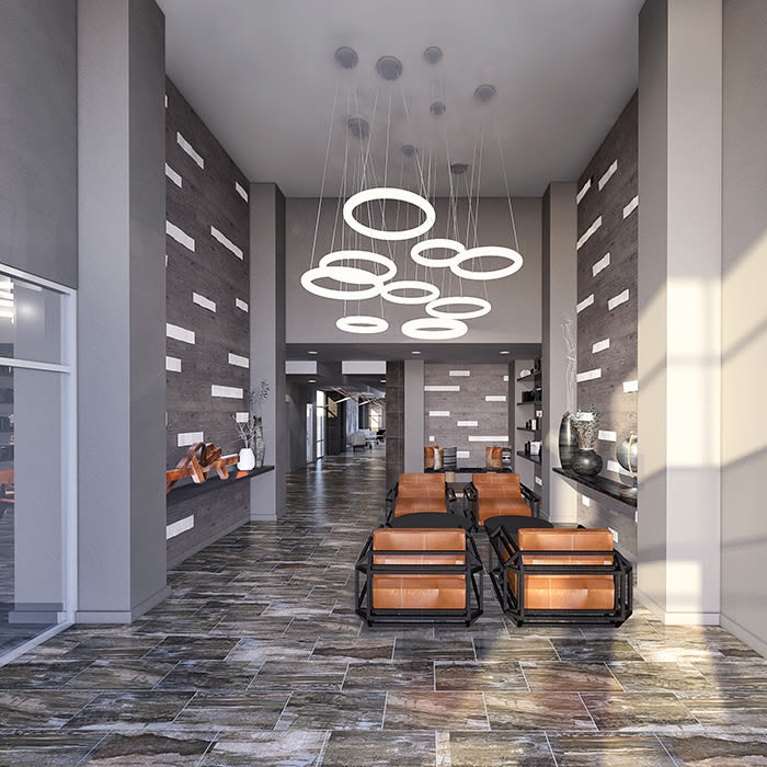Spacious lobby at 50 Front Luxury Apartments in Binghamton, NY