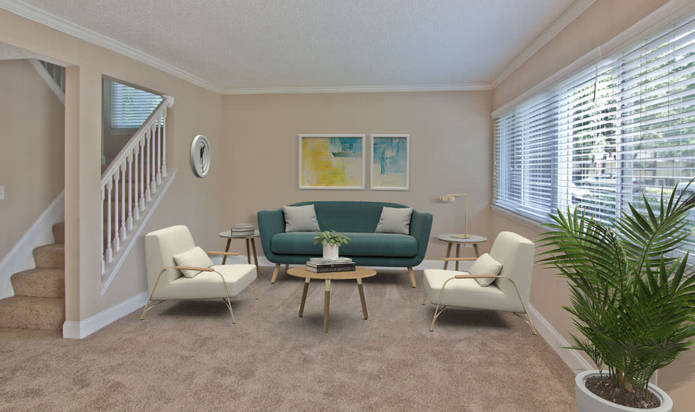 Spacious living room at The Trails of North Hills in Raleigh, NC