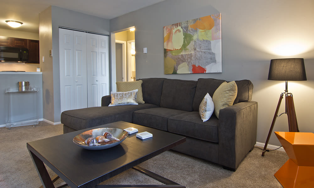 Cozy living room at The Flats at Gladstone in Glendale Heights, Illinois