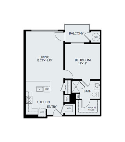 1 bedroom A2: Approx. 798 sq ft at Avenida Lakewood in Lakewood