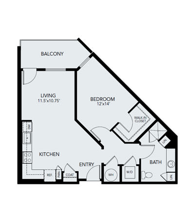 1 bedroom A3 - ADA: Approx. 849 sq ft floor plan at Avenida Lakewood