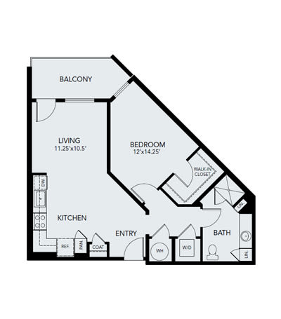 1 bedroom A3: Approx. 849 sq ft at Avenida Lakewood in Lakewood