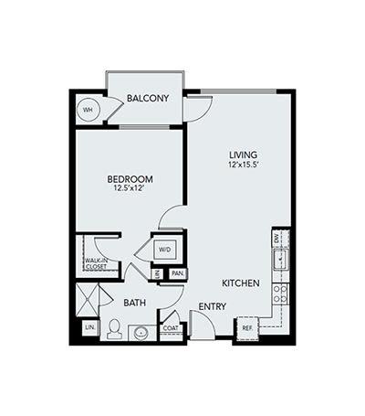 1 bedroom A1: Approx. 796 sq ft. floor plan at Avenida Lakewood