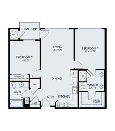 2 bedroom B1: Approx. 1,093 sq ft at Avenida Lakewood