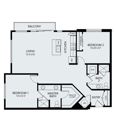 2 bedroom B3: Approx. 1238 sq ft at Avenida Lakewood