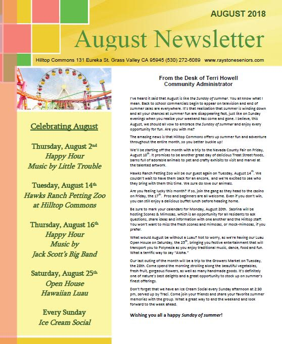 Newsletter thumbnail for the senior living community in Grass Valley