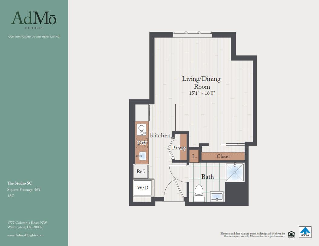 Luxury Studio Loft 1 Bedroom Apartments In Washington Dc Admo Heights