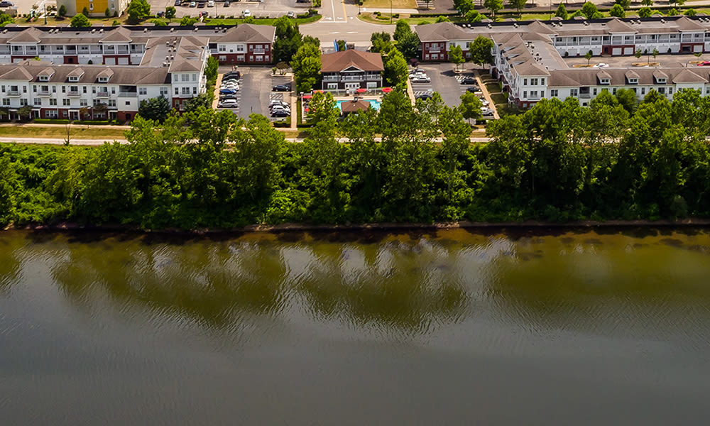 Aerial view of The Waterfront Apartments community in Munhall, PA