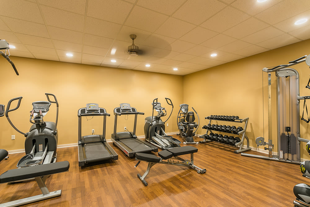 fitness center at Waters Edge Apartments in Webster