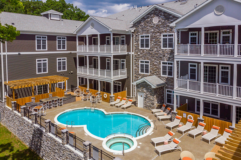 Outdoor pool at Waters Edge Apartments in Webster, New York