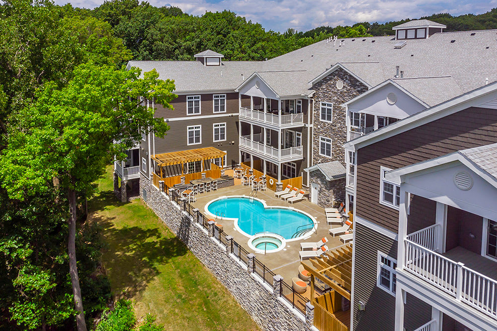 Aerial View of swimming pool at Waters Edge Apartments in Webster