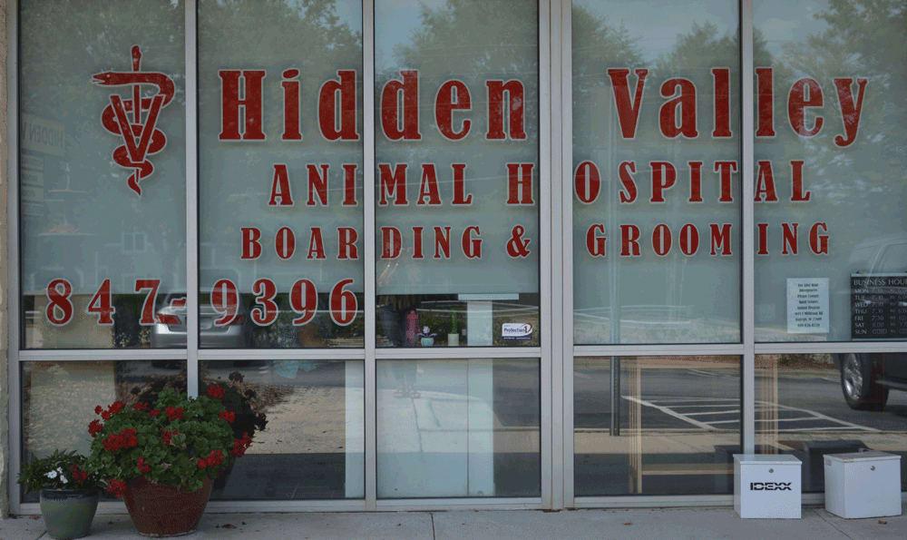 Front window at Hidden Valley Animal Hospital & Boarding